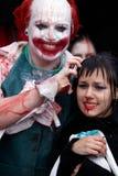 Participantes preparados não identificados na parada do zombi Imagens de Stock