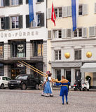Participantes suizos del desfile del día nacional Foto de archivo libre de regalías