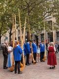 Participantes suizos del desfile del día nacional Fotos de archivo libres de regalías