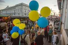 Participants of the action devoted to Day of Independence of Ukraine on the Nevsky Prospekt. Royalty Free Stock Photography