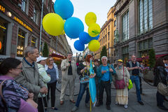 Participants of the action devoted to Day of Independence of Ukraine and their opponents on the Nevsky Prospekt. Stock Image