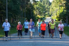 Participants of action of `Second Breath` sports club for pensioners, supported by the Russian Railways charity Fund `Honor` stock photography