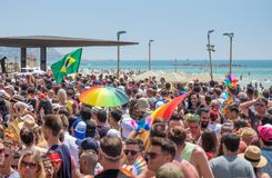 Participants of annual gay pride parade & festival in Tel-Aviv royalty free stock photography