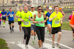 Participants during the annual Krakow international Marathon. Stock Images