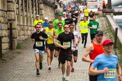 Participants during the annual Krakow international Marathon. Stock Images