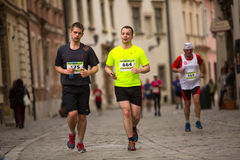 Participants during the annual Krakow international Marathon. Royalty Free Stock Images