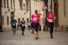 Participants during the annual Krakow international Marathon. Royalty Free Stock Photos