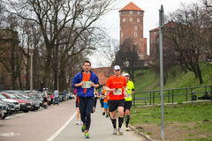 Participants during the annual Krakow international Marathon. Royalty Free Stock Image