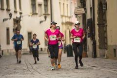 Participants during the annual Krakow international Marathon. Royalty Free Stock Photos