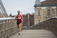Participants during the annual Krakow international Marathon. Stock Photos
