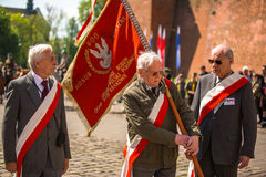 Participants annual of Polish national and public holiday the May 3rd Constitution Day. Stock Image