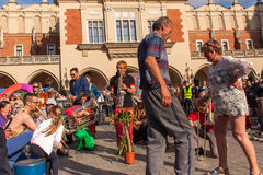 Participants at the annually (Jul 9-12) 28th International Festival of Street Theatres Royalty Free Stock Photography