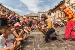 Participants at the annually (Jul 9-12) 28th International Festival of Street Theatres Stock Image