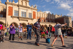 Participants at the annually (Jul 9-12) 28th International Festival of Street Theatres. KRAKOW, POLAND - JUL 11, 2015: Participants at the annually (July 9-12) Royalty Free Stock Image