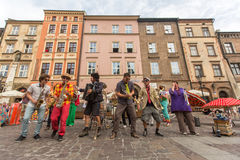 Participants at the annually (Jul 9-12) 28th International Festival of Street Theatres. KRAKOW, POLAND - JUL 12, 2015: Participants at the annually (July 9-12) Stock Photography