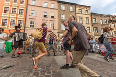 Participants at the annually (Jul 9-12) 28th International Festival of Street Theatres. KRAKOW, POLAND - JUL 12, 2015: Participants at the annually (July 9-12) Stock Photos