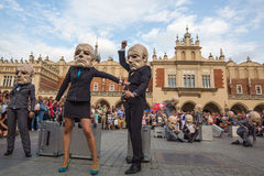 Participants at the annually (Jul 9-12) 28th International Festival of Street Theatres. KRAKOW, POLAND - JUL 12, 2015: Participants at the annually (Jul 9-12) Stock Photography