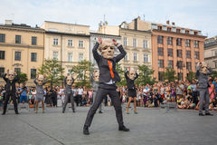 Participants at the annually (Jul 9-12) 28th International Festival of Street Theatres. KRAKOW, POLAND - JUL 12, 2015: Participants at the annually (Jul 9-12) Royalty Free Stock Photography