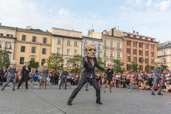 Participants at the annually (Jul 9-12) 28th International Festival of Street Theatres. KRAKOW, POLAND - JUL 12, 2015: Participants at the annually (Jul 9-12) Royalty Free Stock Images