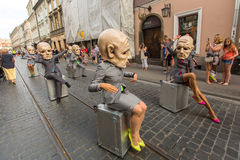 Participants at the annually (Jul 9-12) 28th International Festival of Street Theatres. KRAKOW, POLAND - JUL 12, 2015: Participants at the annually (Jul 9-12) Stock Image