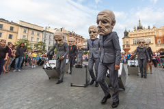 Participants at the annually (Jul 9-12) 28th International Festival of Street Theatres. KRAKOW, POLAND - JUL 12, 2015: Participants at the annually (Jul 9-12) Royalty Free Stock Image