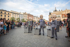Participants at the annually (Jul 9-12) 28th International Festival of Street Theatres. KRAKOW, POLAND - JUL 12, 2015: Participants at the annually (Jul 9-12) Stock Images