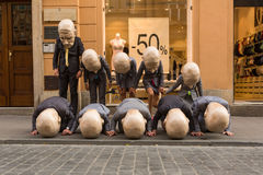 Participants at the annually (Jul 9-12) 28th International Festival of Street Theatres. KRAKOW, POLAND - JUL 12, 2015: Participants at the annually (Jul 9-12) Royalty Free Stock Photo