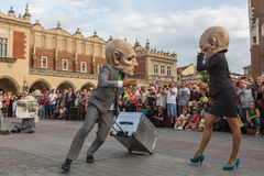 Participants at the annually (Jul 9-12) 28th International Festival of Street Theatres. KRAKOW, POLAND - JUL 12, 2015: Participants at the annually (Jul 9-12) Stock Photo