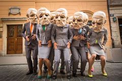 Participants at the annually (July 9-12) 28th International Festival of Street Theatres. KRAKOW, POLAND - JUL 12, 2015: Participants at the annually (Jul 9-12) Royalty Free Stock Photos