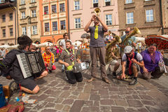 Participants at the annually (July 9-12) 28th International Festival of Street Theatres. KRAKOW, POLAND - JUL 12, 2015: Participants at the annually (July 9-12) Royalty Free Stock Image
