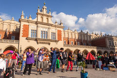 Participants at the annually (July 9-12) 28th International Festival of Street Theatres. KRAKOW, POLAND - JUL 11, 2015: Participants at the annually (July 9-12) Stock Image
