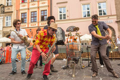 Participants at the annually (July 9-12) 28th International Festival of Street Theatres. KRAKOW, POLAND - JUL 12, 2015: Participants at the annually (July 9-12) Royalty Free Stock Photos