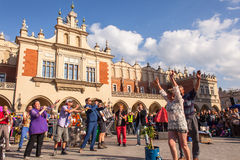 Participants at the annually (July 9-12) 28th International Festival of Street Theatres. KRAKOW, POLAND - JUL 11, 2015: Participants at the annually (July 9-12) Royalty Free Stock Photo