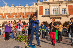 Participants at the annually (July 9-12) 28th International Festival of Street Theatres. KRAKOW, POLAND - JUL 11, 2015: Participants at the annually (July 9-12) Stock Photos