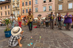 Participants at the annually (July 9-12) 28th International Festival of Street Theatres. KRAKOW, POLAND - JUL 12, 2015: Participants at the annually (July 9-12) Royalty Free Stock Photography