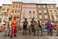 Participants at the annually (July 9-12) 28th International Festival of Street Theatres. KRAKOW, POLAND - JUL 12, 2015: Participants at the annually (July 9-12) Stock Photo