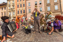 Participants at the annually (July 9-12) 28th International Festival of Street Theatres. KRAKOW, POLAND - JUL 12, 2015: Participants at the annually (July 9-12) Royalty Free Stock Images