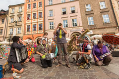 Participants at the annually (July 9-12) 28th International Festival of Street Theatres. KRAKOW, POLAND - JUL 12, 2015: Participants at the annually (July 9-12) Stock Images