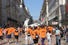 Participants au marathon de Lisbonne image libre de droits