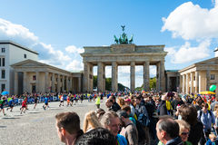 Participants of the Berlin Marathon finishing at Royalty Free Stock Photography