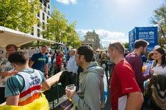Participants of the Berlin Marathon finishing at Royalty Free Stock Photo