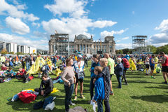 Participants of the Berlin Marathon are gathering Royalty Free Stock Photography