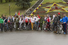 Participants of the bike ride. Royalty Free Stock Image