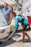 Participants Bulgarian championship sailing in Pomorie Royalty Free Stock Photography