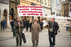 Participants celebrating National Independence Day of Poland Stock Photos