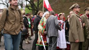 Participants celebrating National Independence Day an Republic of Poland stock footage