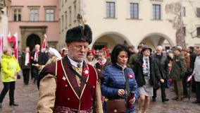 Participants celebrating National Independence Day an Republic of Poland stock video footage