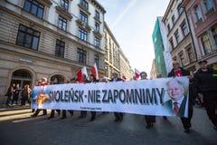 Participants celebrating National Independence Day an Republic of Poland Stock Photos