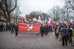 Participants celebrating National Independence Day an Republic of Poland Royalty Free Stock Photo