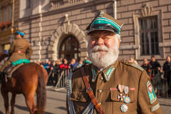 Participants celebrating National Independence Day an Republic of Poland - is a public holiday. KRAKOW, POLAND - NOV 11, 2014: Unidentified participants royalty free stock photography